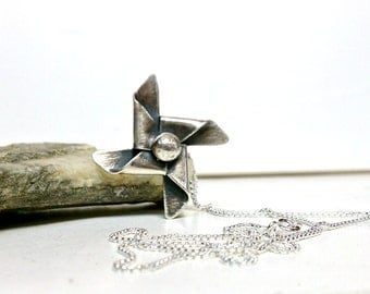 Pinwheel Pendant Sterling Silver with Chain