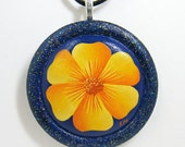 Wooden Pendant Necklace - Yellow Flower On Ultra Blue, One Of A Kind, Hand Painted