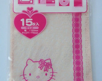 Sanrio Hello Kitty Transparent Baby Pink Lace Heart Ziplock Resealable Polythene Bags - Pack Of 15 - 17cm x 12cm