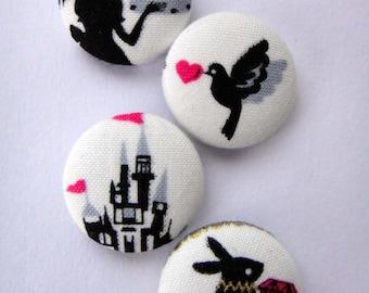 Alice In Wonderland Fairytale Themed White Japanese Fabric Buttons - Set Of 4 - Silhouette & Cake, Love Bird Heart, Castle, Rabbit Diamond
