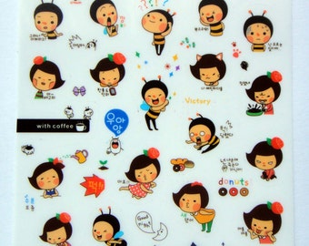 Cute Honey Bee & Girl Plastic Stickers From Korea - Eating Rice, Noodles, Fork, Scales, Cat, Gardening, Emotions, Roses, Cooking