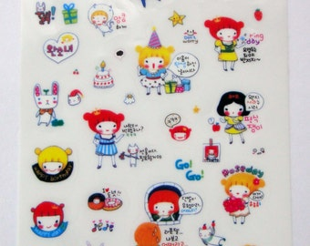 Cute Pippi Princess Girl Plastic Stickers From Korea - Mirror, Sleeping, Cat, Happy Birthday, Present, Cake, Snow White, Mermaid, Cinderella