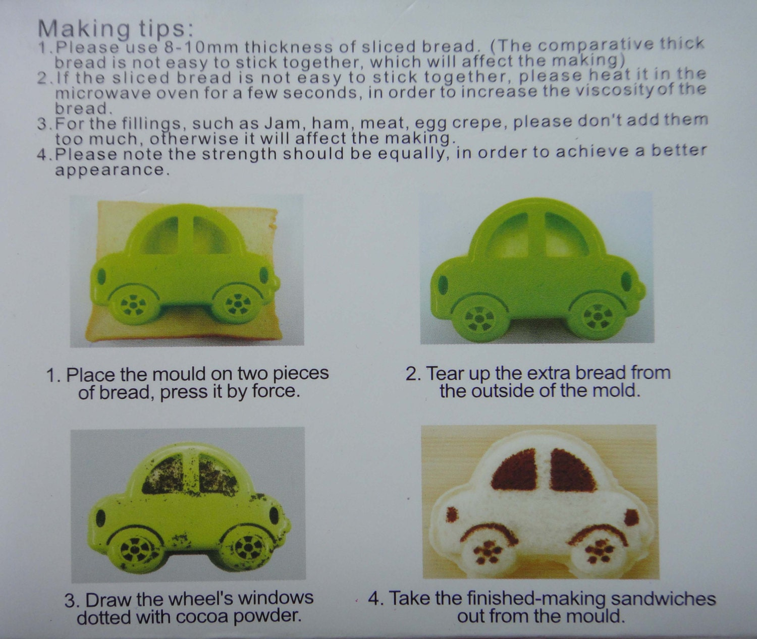 Cute Car Shape Sandwich Maker Cutter Stencil Shaper Mold