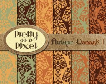 Printable Scrapbook Paper - Autumn Damask - 12 x 12 - Set of 12 - INSTANT DOWNLOAD