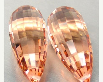 Large Peach Quartz Step Faceted Briolette Pair