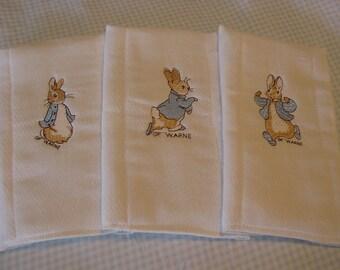 Set of 3 Peter Rabbit Beatrix Potter burp cloths