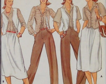 Misses Pants, Skirt, Shirt and Vest Butterick 5880 Sewing Pattern Bust 34