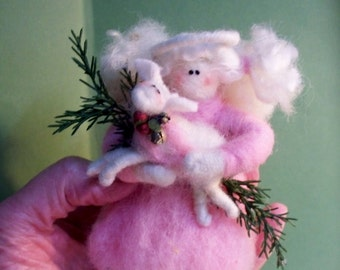 "Guardian Angel 4"" Felted Wool Ornament - NEW COLOR for 2013"