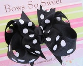 Black with White Polka Dot Hair Bow, Boutique Layered Hair Bow, Spiked Layers Girls Hair Bows...Black/White