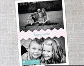 Chevron Easter - Two Photo Custom Easter Greeting Card