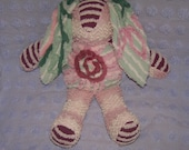 Kristin, the Vintage Chenille Bunny is Rose, Burgundy and Mint Green