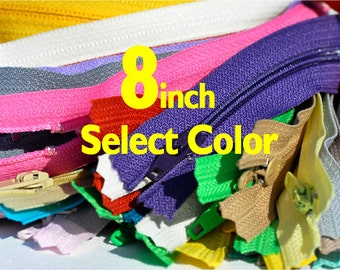 8 inch YKK Zippers Nylon Coil Skirt and Dress Closed Bottom - Each Color Ten Zippers - Select Color