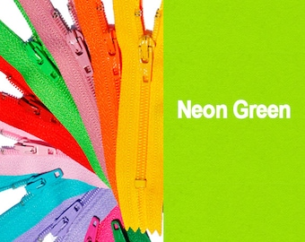 "12"" Neon-WHOLESALE ykk ZIPPERS-12 inch ykk Zipper NEON Colors  Zippers Closed Bottom - Select Your own Color (each color has ten zippers)"
