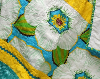 "Baby quilt- contemporary baby girl quilt with rick rack in greens, blues and yellows- ""Bloom"" READY TO SHIP"
