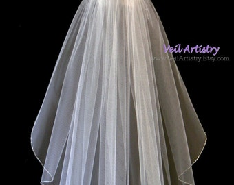 Bridal Veil, Classic Veil, Shoulder Veil, Crystal Beaded Edge Veil, Crystal Veil, White Veil, Short Veil, Ready to Go Veil