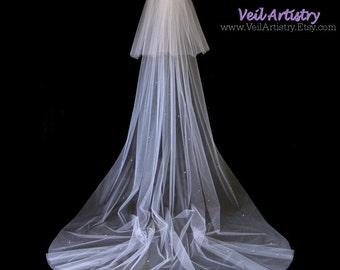 Bridal Veil, Classic Veil, 2 Tier Veil, Cathedral Veil, Scattered Crystal Veil, Swarovski Crystal Veil, White Veil, Ready to Go Veil