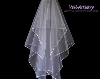 Bridal Veil, Handkerchief Veil, 2 Tier Wedding Veil, Fingertip Veil, Satin Ribbon Edge Veil, Boho Veil, Custom Veil, Handmade Veil