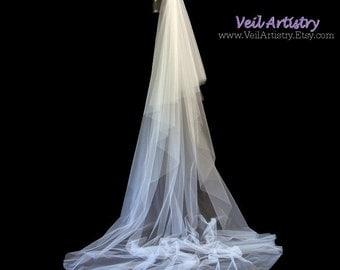 Long Wedding Veil, Radiance Veil, Royal Cathedral Veil, 2 Tier Wedding Veil, Cut Edge Veil, Made-to-Order Veil, Handmade Veil