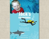 Shark and Scuba Custom Printable BIRTHDAY PHOTO INVITATION