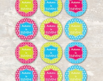 PRINT & SHIP Neon Roller Skate Birthday Party Cupcake Toppers (set of 12) >> personalized and shipped to you | Paper and Cake