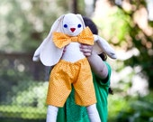 """Organic Rabbit Doll Toy - Giant 20"""" Eco Friendly Jointed Bunny in Orange Gold Bowtie - Organic Stuffed Animal - Kids (Ready to Ship)"""
