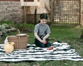 Picnic Blanket- AS SEEN in Apartment Therapy- Large Black and White Gingham- Modern, Personalized Picnic Blanket