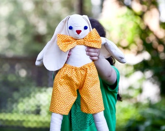 "Organic Rabbit Doll Toy - Giant 20"" Eco Friendly Jointed Bunny in Orange Gold Bowtie - Organic Stuffed Animal - Kids (Ready to Ship)"