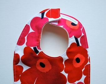 Marimekko Baby Bib - Red White Summer Poppies - Toddler Food Bib with Organic Cotton Flannel- Eco Friendly Kids