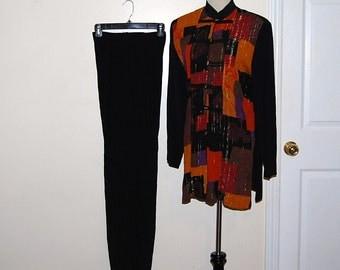 Vintage Jacket and Pants Abstract with Black New Wave