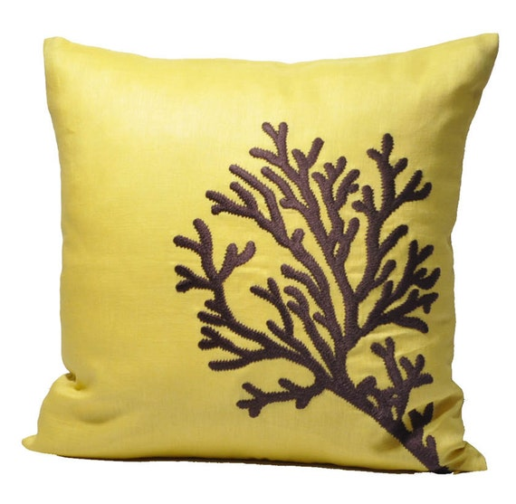 Dark Coral Throw Pillows : Coral Accent Pillow Cover Yellow Linen Dark Brown by KainKain