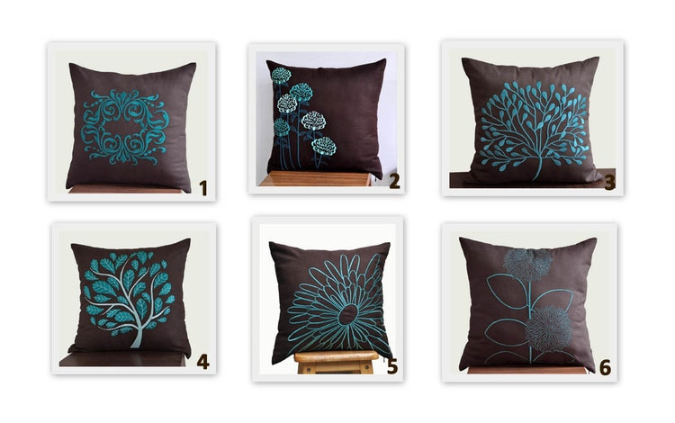 Teal Decorative Pillow Cover Home Decor Dark Brown By KainKain