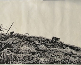 Rice Field at Harvest Time, limited edtion, hand printed, hand signed in pencil by the artist, linocut