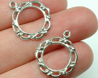 2pcs - Solid Sterling Silver CHANDELIER circle earring components bohemian floral decorative art deco frame