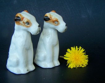 Vintage Dog Salt and Pepper Shakers Lakeland Terrier Dog Breed Original Stoppers Marked Japan in Blue