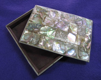 Vintage Sterling Silver and Abalone Shell Box