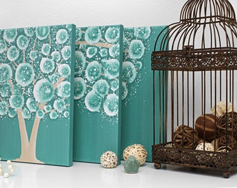 Teal and Brown Decor - Tree Painting on Triptych Canvas Wall Art - Medium 35x14