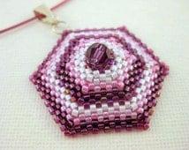 Beadwork Hexagon Peyote Pendant Beaded Seed Bead