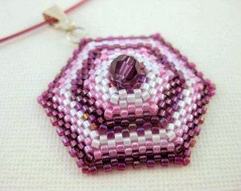 Peyote Pendant / Hexagon Pendant /  Beaded Pendant in Pink Fuchsia and White / Seed Bead Pendant / Beadwork Pendant / Peyote Necklace
