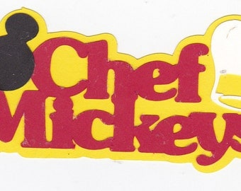 Disney's CHEF MICKEY Matted Title | Character Dining | Disney World | Paper Piecing | Scrapbook