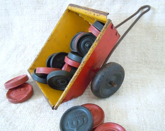Vintage Toy CHILDS WHEELED CART Original Paint Metal Garden Repurpose Cottage Home Style Country Chic Retro Toy