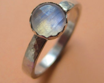 Sterling Silver and Rainbow Moonstone Stacking Ring