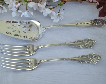 Wedding Mr. and Mrs. Ornate Forks & Cake Server Hand Stamped  Bride and Groom Silverware