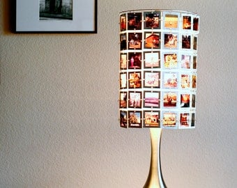 Custom Lampshade  from vintage slides with stainless base