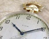 Vintage Elgin Pocket Watch - circa 1925 - 7 Jewel - 12 Size - Deco Style Case - Gold Filled - Mechanical Wind
