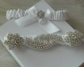 White Bridal Garter-Wedding Garter -Bridal Garter set- White Garter Set-Garter