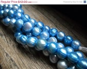 "Groundhog Sale Fabulous Cultured Freshwater Pearls - Large Hole - Sky Blue - 8"" Strand - 9mm"