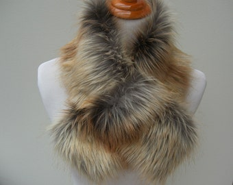 Faux Fur NECKWARMER Scarf with loop, Fox Gold Tip Dyed Faux Fur, Fur Neckpiece, Fur Collar, Women's Cowl