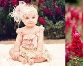 Pink and Cream Headband to match  lace rompers and lace dress. hb 204 Curly Ostrich feathers,lace flower