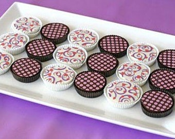 1 Doz HEARTS, SWIRLS, and DOTS Designer Chocolate Covered Oreos -Birthday Party Favor Girl Boy Insect Bug Picnic Garden