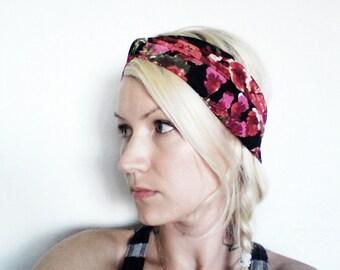 Twist Turban Headband, Red Rose Print, Yoga Headband, Upcycled Fabric Headband, Eco Friendly